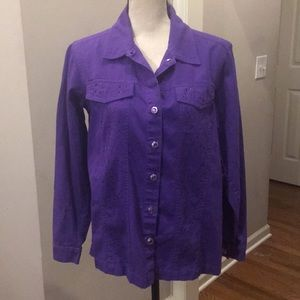 Quacker Factory purple embellished jacket. Med